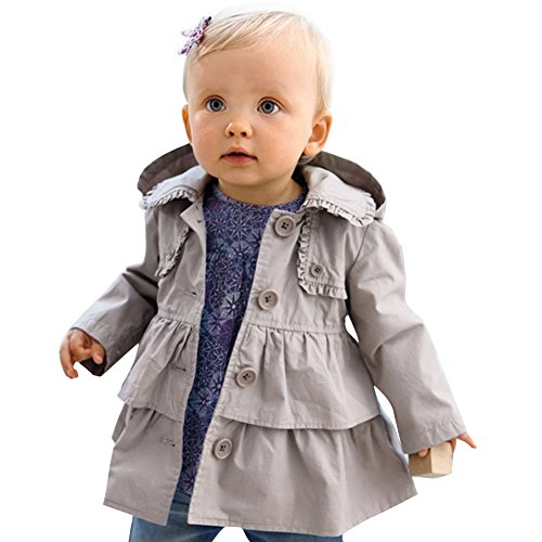 ACSUSS Infant Baby Girls Fall Winter Button Down Trench Wind Dust Coat Ruffled Hooded Jacket Outerwear Gray 3T ()