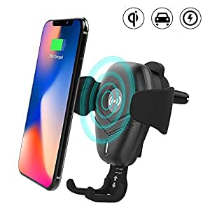 BEQOOL QI Inalámbrico Cargador Coche Teléfono Móvil Ventilación Soporte Inducción Rápido QI Wireless Charger para iPhone X Samsung Galaxy Note 8 / S8 / S8 + / S7 iPhone 8/8 Plus/X