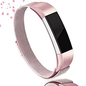 AK For Fitbit Alta HR Bands Milanese Stainless Steel Small Large Magnetic Closure, Adjustable Alta HR/Alta Accessories Metal Bands Straps for Fitbit Alta HR 2017/Fitbit Alta 2016 (#Rose Pink, Small)
