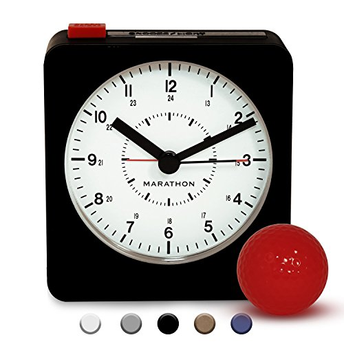 Marathon CL030053BK/WH Classic Silent Sweep Alarm Clock with Auto Night Light. Batteries Included (Analog Alarm)