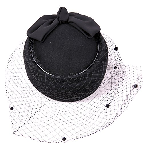 Autumn and winter hat/Ladies mesh vintage tiara beret of England/Top hat-Black adjustable