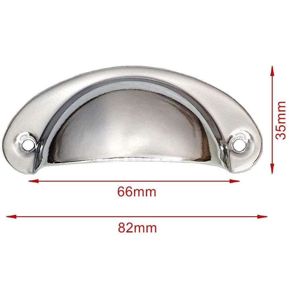 tiradores de 82 mm x 35 mm de lat/ón envejecido con tornillos cajones Juego de 10 tiradores de acero negro con forma de media luna para armario puerta de armario