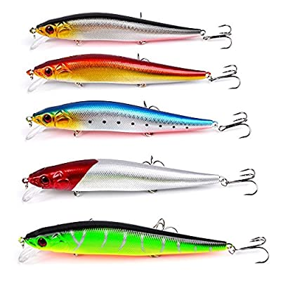 KIKITOY Saltwater Fishing Lures Inshore Large Hard Bait Minnow Lures with Three Triple Pronged Hooks 5Pcs 5.5 Inch 0.8 oz