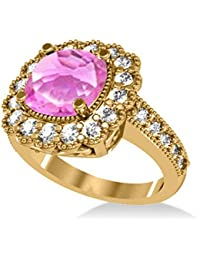 14k Gold Allurez Pink Sapphire and Diamond Cushion Halo Milgrain Edged Engagement Ring (3.50ct)