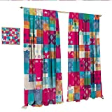 magnificent urban patio design ideas Modern Art Decor Curtains by Abstract Motif with Dots with Squares and Chevron Lines Urban Art Design Print Patterned Drape for Glass Door W108 x L96 Multicolor.jpg