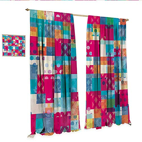 Modern Art Decor Curtains by Abstract Motif with Dots with Squares and Chevron Lines Urban Art Design Print Patterned Drape for Glass Door W108 x L96 Multicolor.jpg