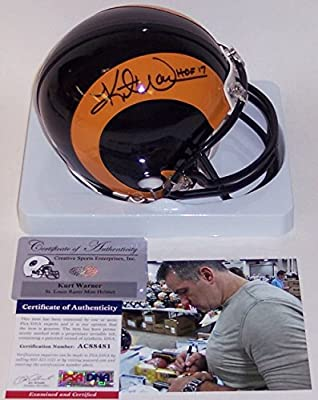 Kurt Warner Autographed Hand Signed St. Louis Rams Throwback Riddell Mini Football Helmet - with Hall of Fame 2017 inscription - PSA/DNA