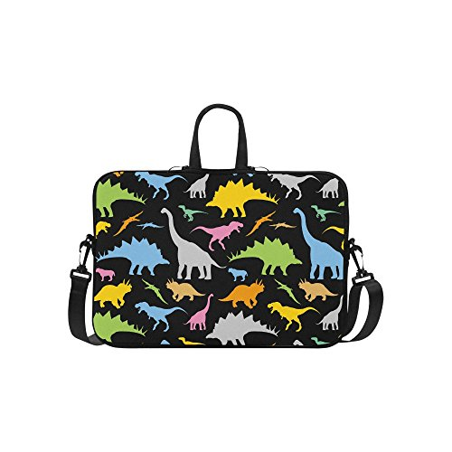 InterestPrint Cute Animal Dinosaur Laptop Sleeve Case Bag, Dinosaur Pattern Shoulder Strap Laptop Sleeve Notebook Computer Bag 15-15.6 Inch for MacBook Pro Air Dell HP Lenovo Thinkpad Acer Ultrabook (Laptop Case Lion)