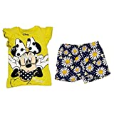 Disney Minnie Mouse Baby Girls Ruffle Sleeve T Shirt & Short Outfit - Yellow
