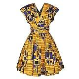 Ez-sofei Women's Bohemian Ethnic African Print Multi-Way Bandage Irregular Dresses (Yellow, M)