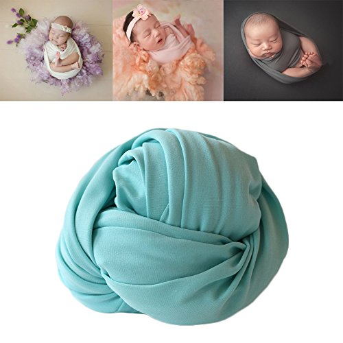 Newborn Baby Photo Props Blanket Backdrop Cotton Stretch Without Wrinkle Wrap for Boy Girls Photography Shoot (Green) by Coberllus (Image #1)