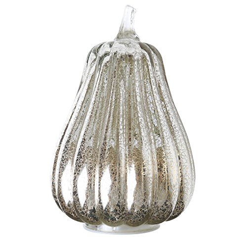 Romingo Mercury Glass Lighted Pumpkin with Timer for Fall Décor, Thanksgiving Gift, Silver, 8.7 inches
