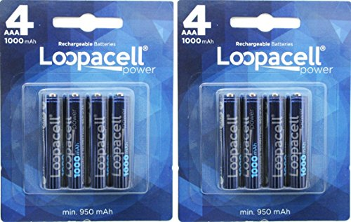 8 Pack Loopacell AAA NiMH Rechargeable Batteries Replacement for Panasonic Cordless Phones