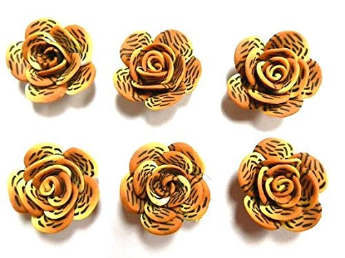10 Fimo Polymer Clay Flower Rose Beads Animal Print Tiger for Crafts DIY Jewelry (Tigers Bicone Crystal Earrings)