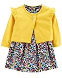 Carter's Baby Girls 2 Piece Bodysuit Dress and Cardigan Sweater Set, Yellow/Floral, 24 Months
