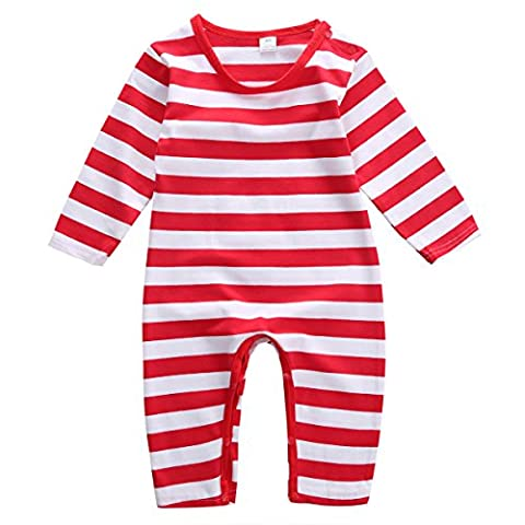 Baby Boys Girls Christmas Long Sleeve Red White Striped Snowman Romper (80(6-9M), Red)