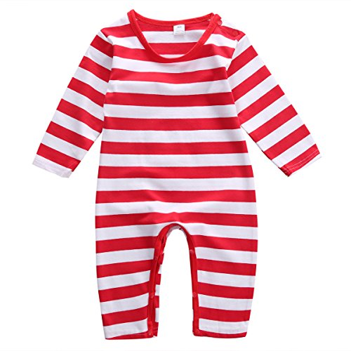 - Baby Boys Girls Christmas Long Sleeve Red White Striped Snowman Romper (70(3-6M), Red)