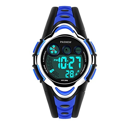 Kids Watch, PASNEW Cool Design Lightweight Waterproof Sports Wrist Watches for Boys Gifts Age 5-12 Blue