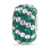BELLA FASCINI Crystal Pave Charm Bead - Silver Core - Fits European Style Bracelets - Green Clear Stripes
