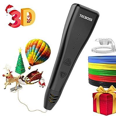 Tecboss 3D Pen (2018 Model), 3D Printer Printing Pen with 3 Speed Adjustable 3D Pens for Kids Adults, Bonus PLA Filament, 3D Pen Drawing Stencils