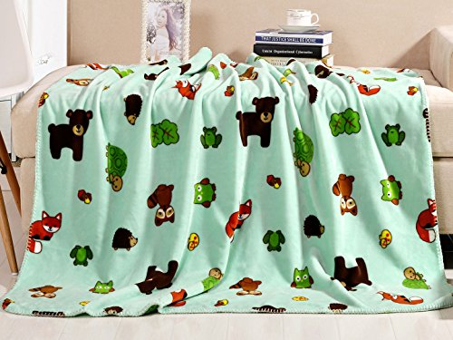 Luxe Bedding 42x50 Inch Plush Fleece Baby Blanket - Multiple Designs Available (Mint Zoo)