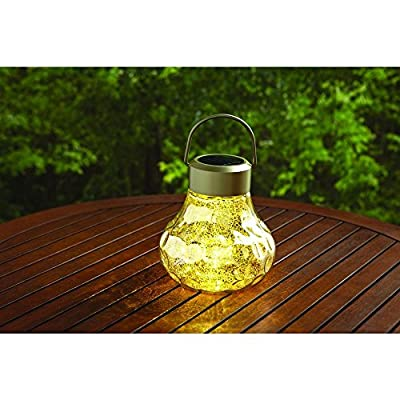 Solar Outdoor LED Mercury Glass Table Top Lantern