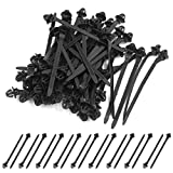 uxcell 50 Pcs Black 11mm Hole Cable Car Boat Trailer Zip Ties Wrap Push Rivets Clips Wiring