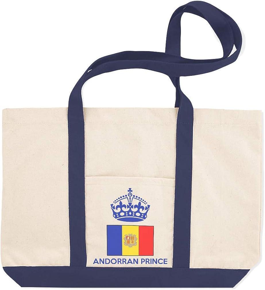 Canvas Shopping Tote Bag Andorran Prince Crown Countries Andorra Flag Prince Beach Bags for Women