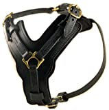 Dean and Tyler The Victory Solid Brass Hardware Dog Harness, Black, Large - Fits Girth Size: 31-Inch to 41-Inch