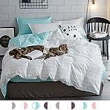 ZHIMIAN Bedding Reversible 3 Piece Striped Print Duvet Cover Set with Zipper Closure(1 Duvet Cover + 2 Pillow Shams)(Queen,White With Blue)
