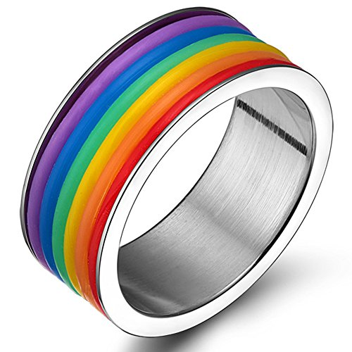 LILILEO Jewelry 9mm Stainless Steel Polished Domed Rainbow Strip Inside Gay Pride LGBT Wedding Rings Bands ()