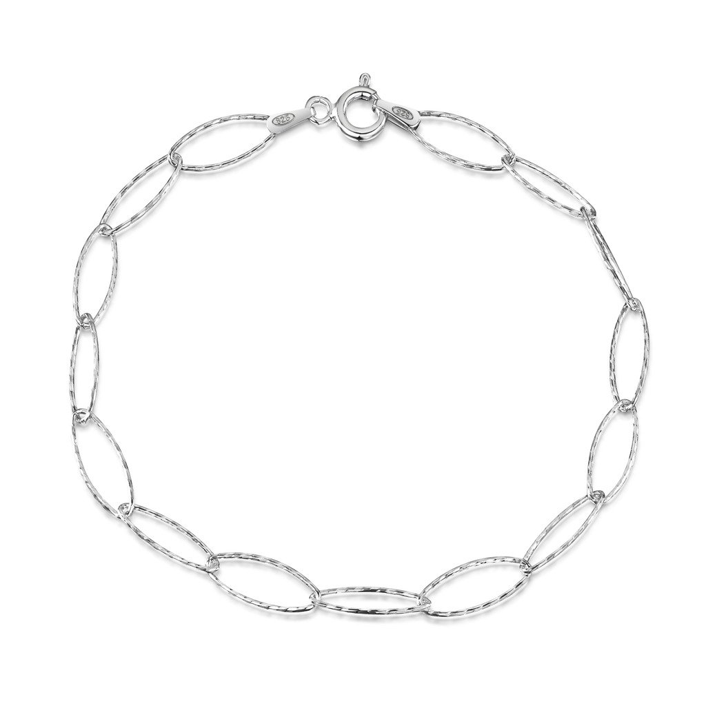 Amberta 925 Sterling Silver 6.3 mm Oval Cable Chain Charm Bracelet Size: 7 7.5 8 inch BIA-S925-CHAIN-044-630-190