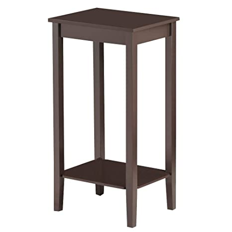 Prime Topeakmart Wood Coffee Table Tall Bedside Nightstand Bedroom Living Room Sofa Side End Table Furniture Espresso Download Free Architecture Designs Ogrambritishbridgeorg