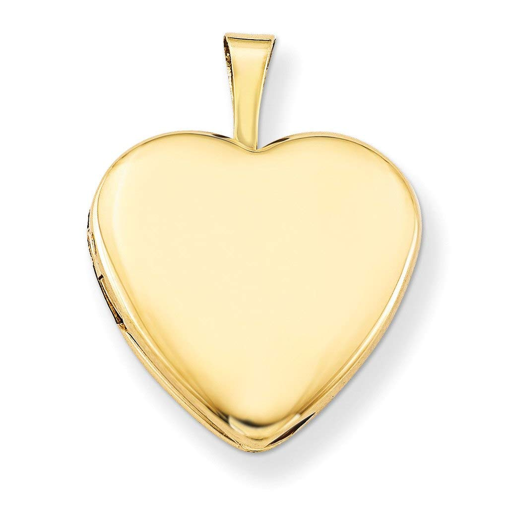 Pori Jewelers 14K Solid Yellow Gold Heart Locket Pendant- Perfect for Holding Photos, Messages, sentimental's (17mm)