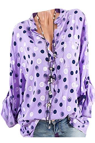 Dot Blouse Femmes Bas Tunique Polka Tops T Violet Top Tee Bouton Le vers Chemise qHqRI5xr