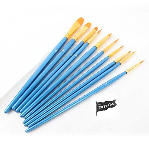 Toysaba(トイサバ) ペイント ブラシ アクリル筆 油絵筆 水彩筆 画筆 10本ブルー (ブルー)の商品画像