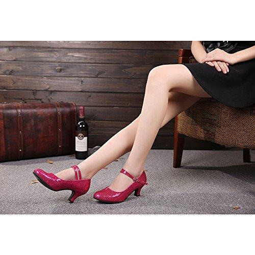 Latino Bozevon Ballroom Red Metallo In Ballo Tacco Alto Donna Paillettes Scarpe Fibbia Standard Da Rose rYqr7wC