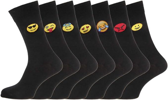 7 pares de calcetines de los días de la semana, estado de ánimo, negros, de algodón, calcetines de diario, tallas 40-45 Negro 7 PAIR PACK EMOTION [WH1253] 39/45: Amazon.es: Ropa y accesorios