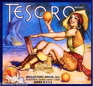 MAGNET Placentia Fullerton Tesoro Pirate Orange Citrus Fruit Crate Magnet Vintage Print