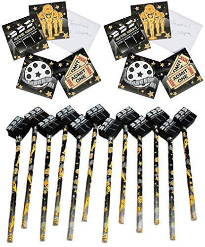 12 Movie Pencils with Clapperboard Erasers + 24 Movie theme Notepads - Movie Night Party Favors SET -