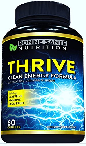 THRIVE – Natural Clean Energy- High Caffeine Pills with Taurine- B Vitamins and More. Supports Endurance- Energy- and Focus, made for Men and Women. Non-GMO Natural Energy Supplement 60 Capsules
