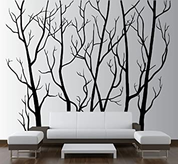 Large Wall Vinyl Tree Forest Decal Removable Sticker With Birds - Vinyl stickers treeamazoncom stickebrand vinyl wall decal sticker tree top branches