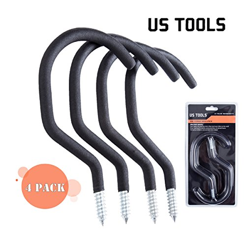 US TOOLS Bike Hooks Storage/Garage Hook Bike Hanger Bike Rack- Pack of 4 Bike Mount Hook Easy off Holder Wall Hooks for Bikes