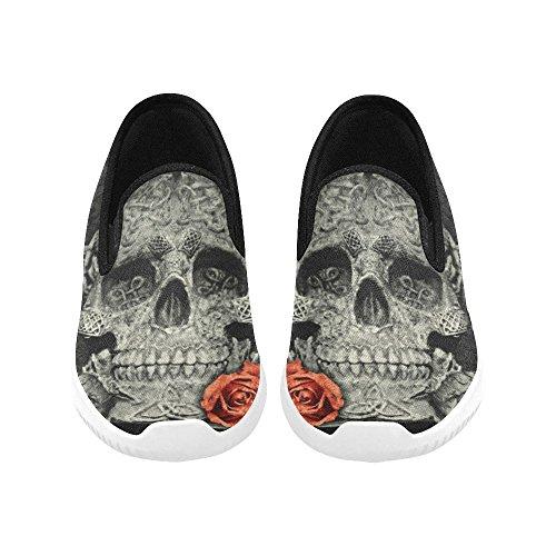 Teschio Di Impronta Digitale Di Fiori Modello Donna Slip On Canvas Sneakers Per Donna Teschi Rose Rosse