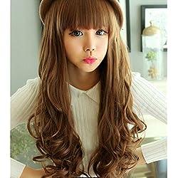 IebeautyFaux Hair Beautiful Curly Long Hair Wig Wigiss Stylish Long Natural Curly Wavy Highlight Wig Hair Wigs Natural as Real Hair Wig for Women (Flaxen)