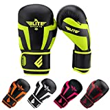 youth boxing - Elite Sports NEW ITEM Standard Adult Kickboxing, Muay Thai Gel Sparring Training Boxing Gloves (Green 10oz)