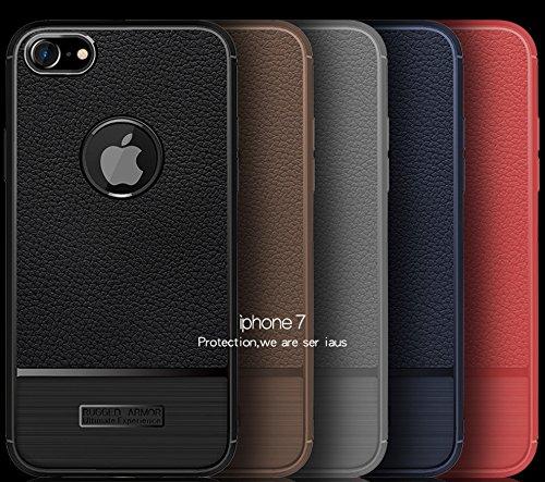 Funda iPhone7,Funda Fibra de carbono Alta Calidad Anti-Rasguño y Resistente Huellas Dactilares Totalmente Protectora Caso de Cuero Cover Case Adecuado para el iPhone7 B
