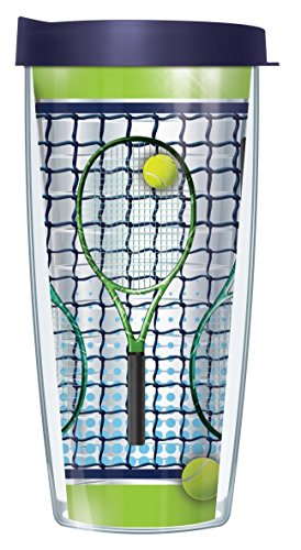 Tennis Racquets Clear 22 Oz Traveler Tumbler Mug with Lid