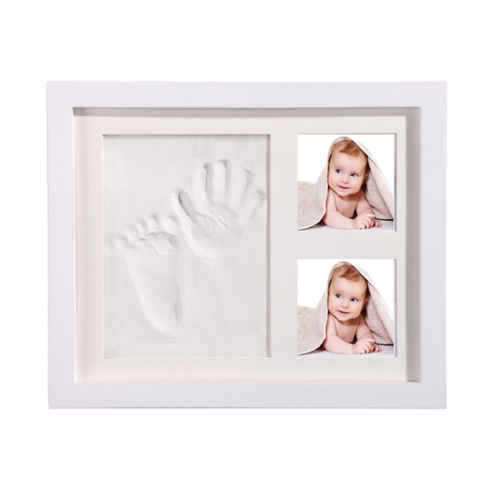 Arswin Baby Handprint Kit, Newborn Baby Footprint Photo Frame, Air Dry Clay Set Picture Album Infant Impression Keepsake, Personalized Baby Shower Gifts, White Wood Frame Decoration for Room Wall/Desk