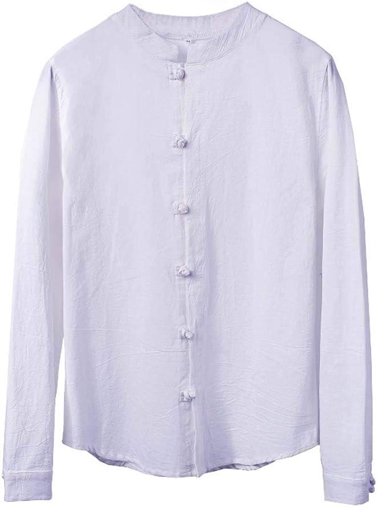 ForgetMe Camisa de algodón y Lino para Hombre, Camisa de Manga Larga con Botones y Camisa de algodón Suelta Informal para Verano, para Hombre, Manga Larga: Amazon.es: Ropa y accesorios
